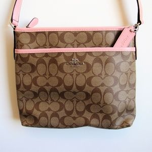 Coach Pink/Brown Crossbody in Signature Canvass